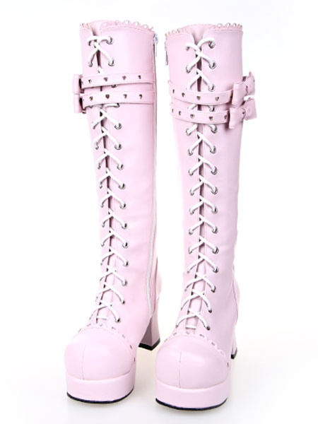 Sweet Pink Lolita Boots Chunky Heels Platform Lace Up Bows фото