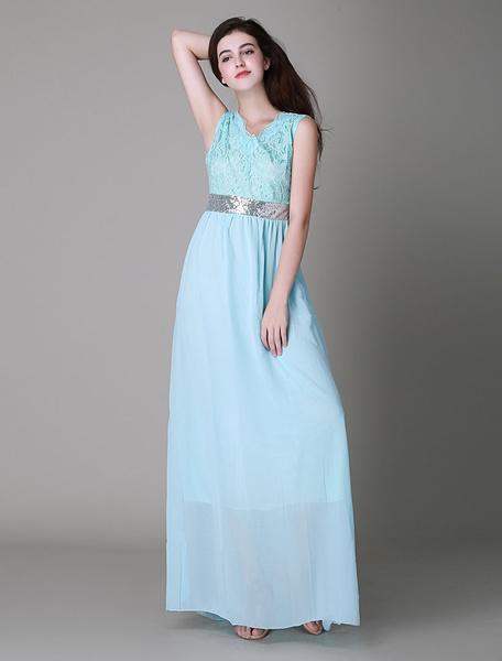 Sleeveless Lace Seamed Maxi Dress For Women фото
