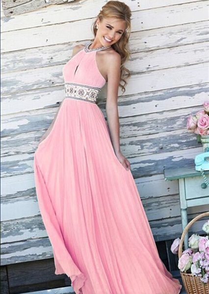 Pink Maxi Dress Backless Halter Beading Sash Chiffon Long Prom Dress For Women, Pink;white;light sky blue