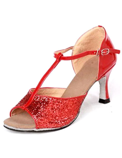Gorgeous Red PU Cowhide Bottom 1 1/5'' High Heel Womens Latin Shoes
