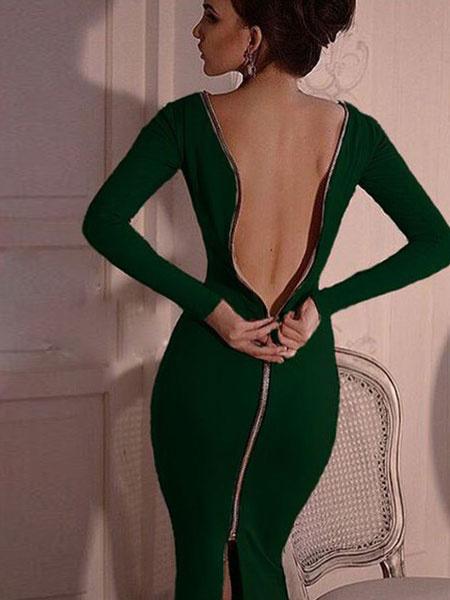 Milanoo / Negro Bodycon vestido de manga larga de cremallera Back Sexy Midi vestido para las mujeres