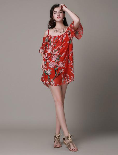 Red Floral Print Straps Chiffon Dress