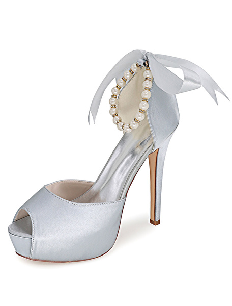 White Bows Ankle Strap Peep Toe Satin Evening and Bridal Platforms фото