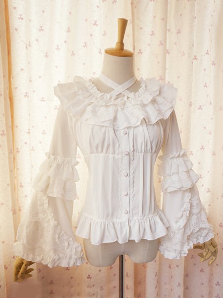 Sweet Lolita Blouse Lace Long Hime Sleeves Neck Straps Round Ruffles Collar фото