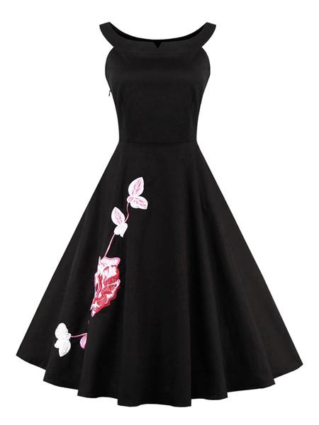 Little Black Dress Floral Print Retro Dress With Full Skirt фото