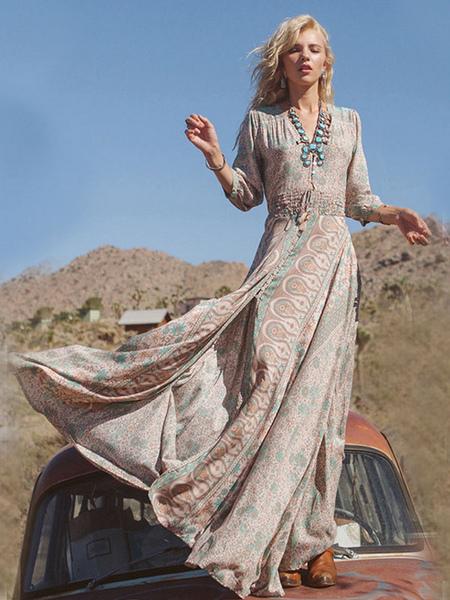 Long Sleeve Printed High splits BOHO Maxi Dress фото