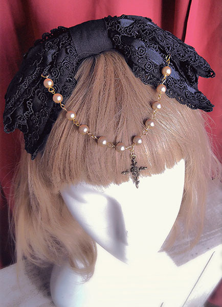 Gothic Lolita Headband Lolita Lace Hair Bows With Bead Chain фото