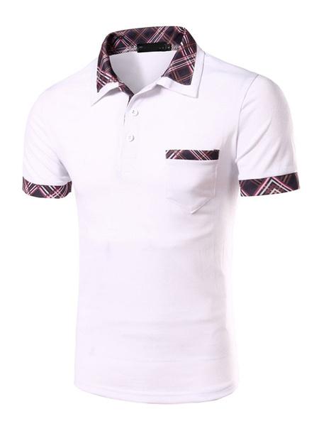 White Print Cotton Polo Shirt for Men фото