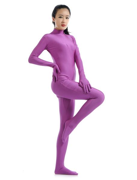 Halloween Velvet Purple Lycra Latex Suit Morphsuits фото