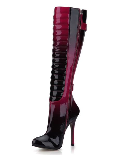 Knee-length Boots Red Women's High Heel Round Toe Stiletto Boots фото
