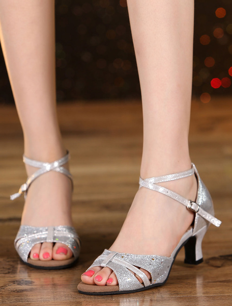 Soft Sole Open Toe Glitter Ankle Strap Ballroom Shoes