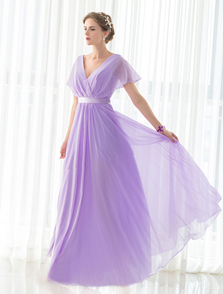 2feae219b Bridesmaid Dress Lilac Chiffon Maxi V-neck Short Sleeves Satin Sash  Floor-length Lace-up Wedding Par