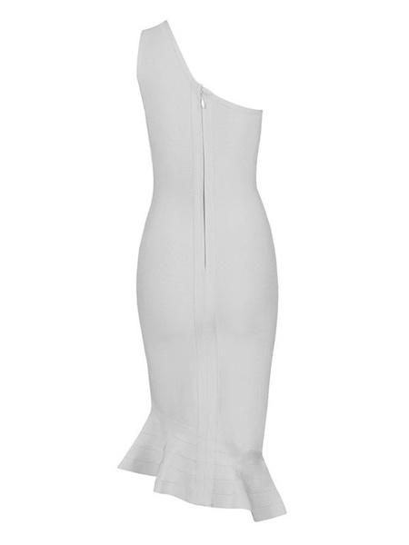 Milanoo / Vestido de fiesta de rayón de un solo hombro vestido Bodycon blanco sirena