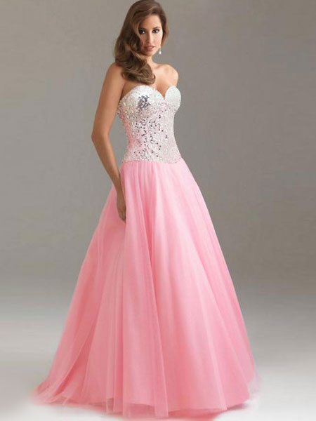 Color Block Strapless Backless Sequins Tulle Maxi Dress фото