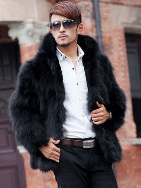 Black Fluffy Faux Fur Coat For Men фото