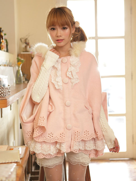 Sweet Lolita Cloak Pink Lace Hooded Faux Fur Bow Half-Sleeve Lolita Cape фото