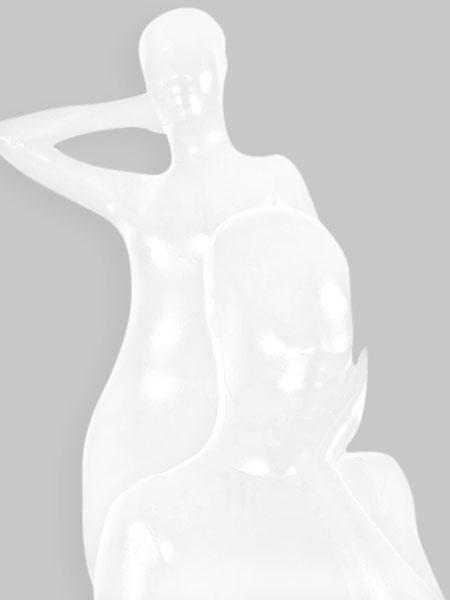 Halloween Shiny Metallic Zentai Suit White Unisex Full Bodysuit фото