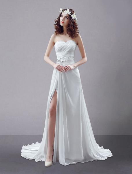 Abito da sposa bianco vestito senza spalline Split contorto strass sposa in Chiffon