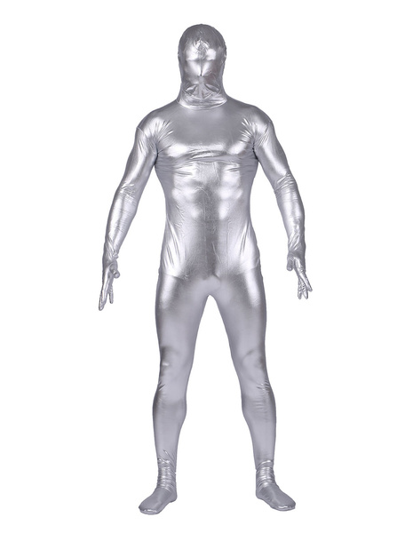 Silvery Shiny Metallic Zentai Suit Halloween Costume Cosplay Milanoo