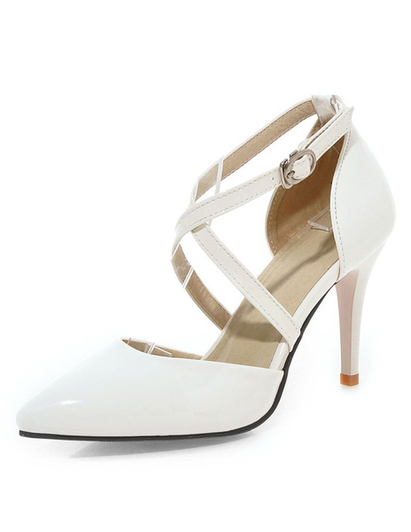 Apricot High Heels Pointed Toe Criss-Cross Women's Solid Color Pumps