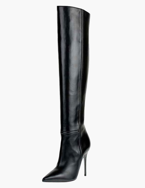 Sexy Pointed Toe PU Leather Over The Knee Boots фото