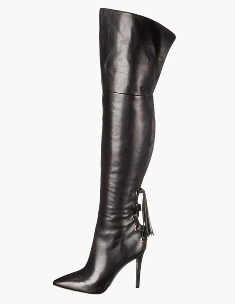 Pointed Toe Bows PU Leather Over The Knee Boots фото