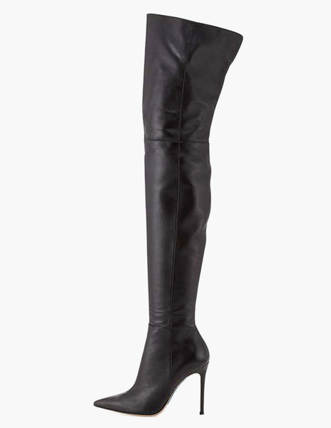 Sexy Pointed Toe PU Leather Overknee Boots фото