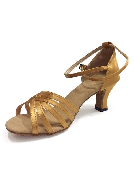Women's Latin Dance Sandals Ballroom Shoes, Coffee brown