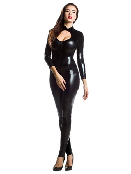 Halloween Black Zentai Cut Out Sexy Costume Cosplay Shiny Metallic Jumpsuit For Women