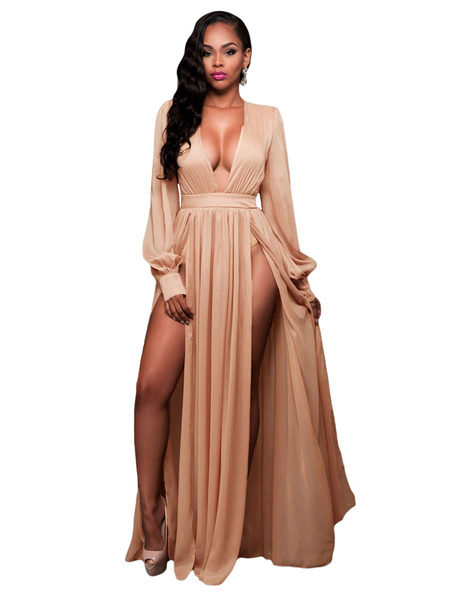 Pleated Maxi Dress Plunging Neckline High Split Sexy Floor Length Dress With Long Sleeve For Women фото