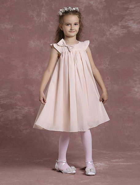 Sweat Cotton Blush Pink Ruffle Cap Sleeves Flower Girl Dress фото