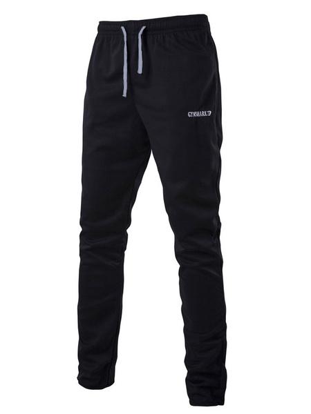 Черный/серый пот брюки Мужские спортивные бегунов брюки