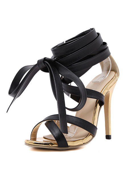 Black Dress Sandals High Heel Women's Open Toe Lace Up Stiletto Heel Ankle Strap Sandals