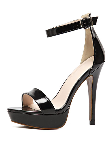 High Heel Sandals Platform Women's Black PU Stiletto Heel Ankle Strap Sandals