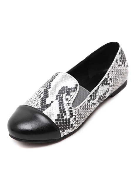 Women's Casual Loafers Snake Print Slip On Flats фото
