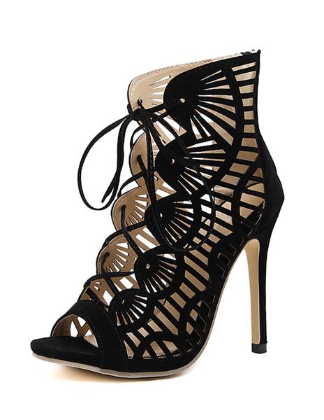 Schwarze Sandale Stiefeletten Wildleder High Heel Peep Toe Lace Up ausgeschnittene Stiletto Heel San