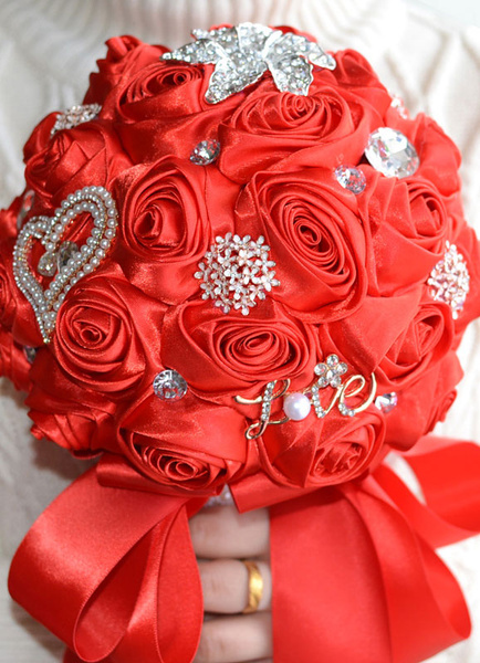 Wedding Flower Bouquet Satin Pearls Rhinestone Beaded Hand Tied Bridal Bouquet In Red
