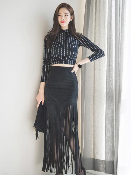 Black Bodycon Skirt Suede High Waist Slim Fit Sheath Skirt With Tassels