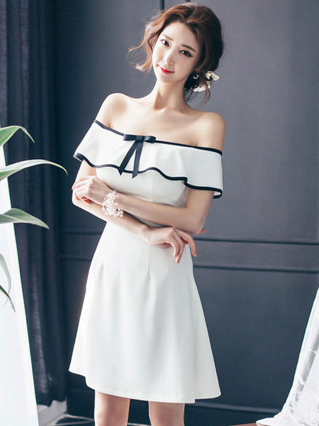 Off The Shoulder Skater Dress White Ruffles Back Zipper Sexy Flare Dress фото