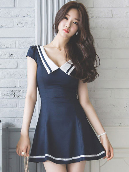 Blue Skater Dress Women's Sailor Collar Cap Sleeve Pleated Slim Fit Flare Dress фото