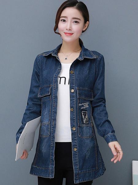 Women's Denim Jacket Blue Long Sleeve Medium Slim Fit Printed Jacket And Coat фото