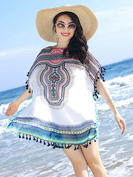 White Cover Ups Chiffon Round Neck Short Sleeve Printed Oversized Beach Swimwear With Fringe фото