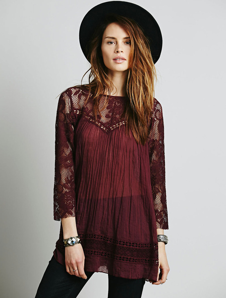 Burgundy Lace Dress Round Neck 3/4 Length Sleeve Pleated Semi-Sheer Short Dress фото