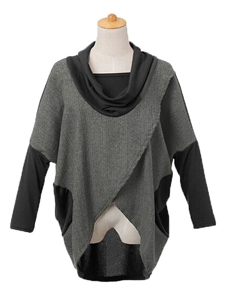 Long Sleeve T-shirts Women's High Low Cowl Neck 2 Colors Patchwork Casual Tshirt фото