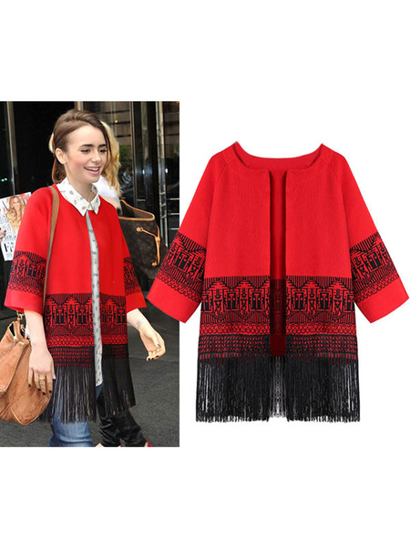 Women's Red Cardigan Round Neck Half Sleeve Casual Outerwear With Fringe