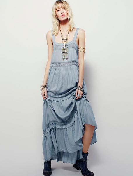 Women's Maxi Dress Light Blue Strappy Sleeveless Backless Crochet Ruffle Long Dress фото