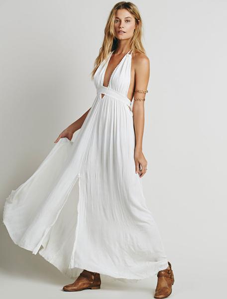 White Long Dress Halter V Neck Sleeveless Backless Maxi Dress With Fringe, White;blue;pink;black