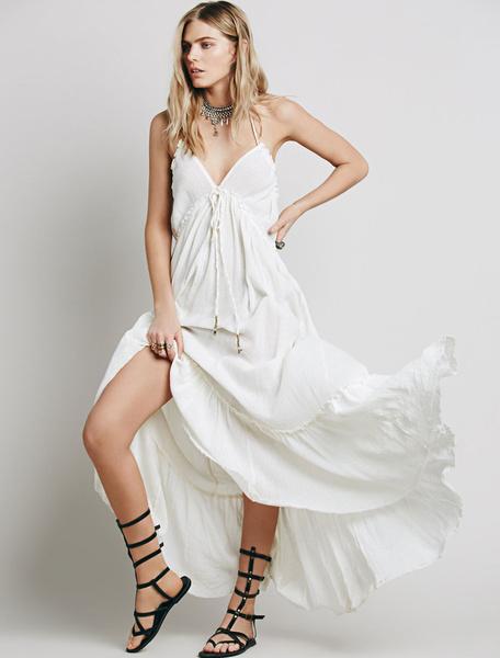 White Long Dress Halter V Neck Sleeveless Backless Ruffle Maxi Dress, Burgundy;white