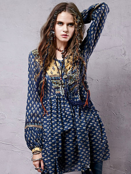 Women's Skater Dress Ethnic Deep Blue Jewel Neck Puff Long Sleeve Printed A Line Dress фото