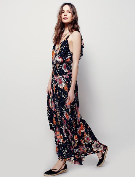 Black Maxi Dress Halter V Neck Sleeveless Floral Printed Ruffle Backless Long Dress, White;black
